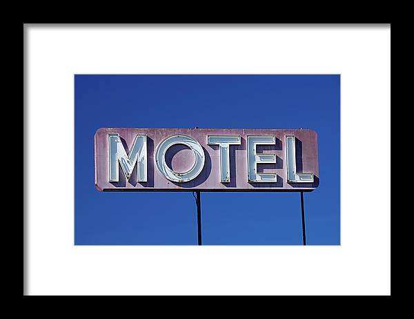 Clear Sky Framed Print featuring the photograph Motel Sign by Eyetwist / Kevin Balluff