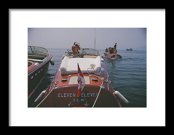 People Framed Print featuring the photograph Motorboats In Antibes by Slim Aarons