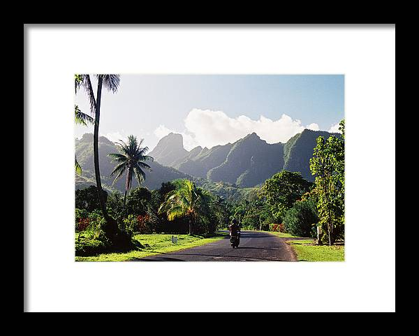 Shadow Framed Print featuring the photograph Motorcyclist On Polynesian Road by Ejs9