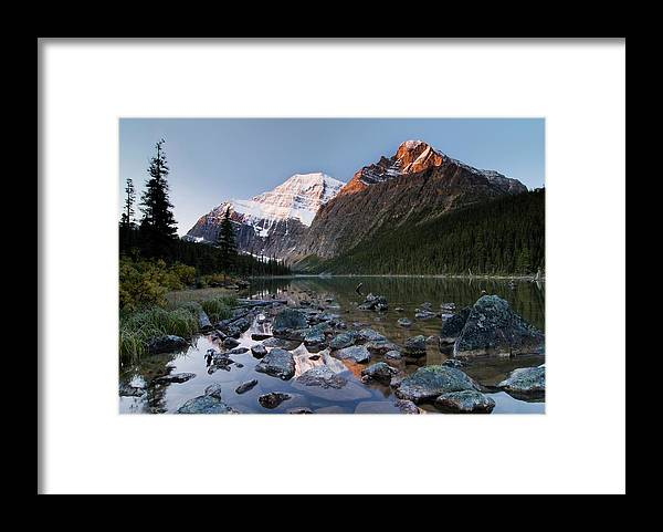 Scenics Framed Print featuring the photograph Mount Edith Cavell And Cavell Lake by Design Pics/philippe Widling