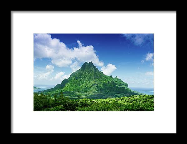 Scenics Framed Print featuring the photograph Mount Roto Nui Volcanic Mountain Moorea by Mlenny