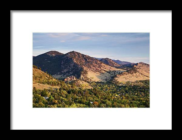 Scenics Framed Print featuring the photograph Mount Sanitas And Fall Colors In by Beklaus