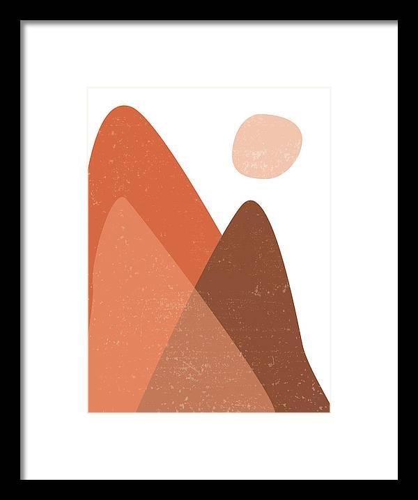 Mountain Ranges - Minimal Abstract - Terracotta Art - Contemporary, Modern Print - Brown by Studio Grafiikka