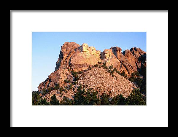 Mt Rushmore National Monument Framed Print featuring the photograph Mt Rushmore Memorial Carvings by John Elk