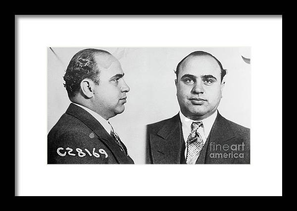 Gangster Framed Print featuring the photograph Mugshot Of Gangster Al Capone by Bettmann