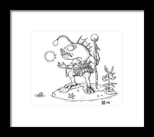 Murloc Framed Print featuring the drawing Murloc by Sami Matilainen