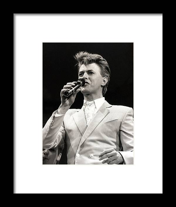 David Bowie Framed Print featuring the photograph Music. Wembley Stadium, London by Popperfoto
