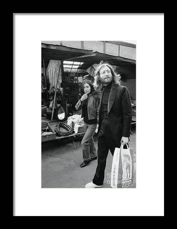 Mid Adult Women Framed Print featuring the photograph Musician John Lennon And Yoko Ono by Bettmann