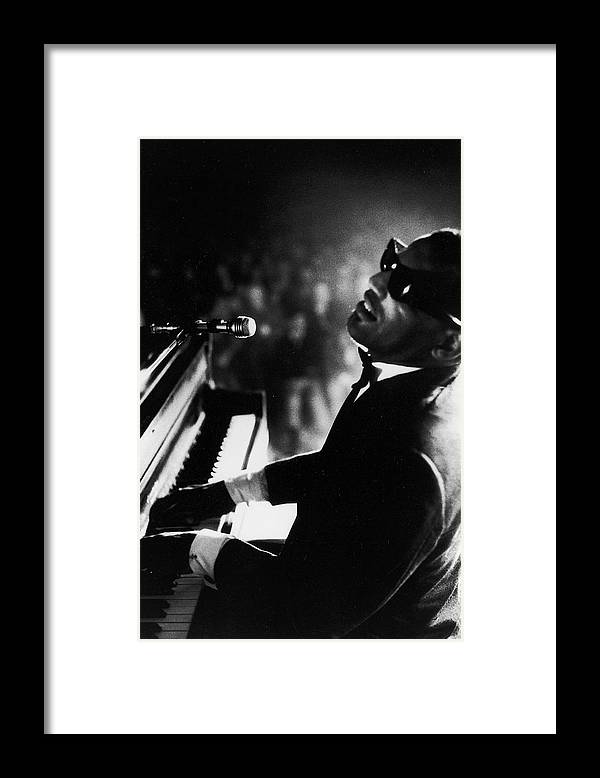 Timeincown Framed Print featuring the photograph Musician Ray Charles Playing Piano In by Bill Ray