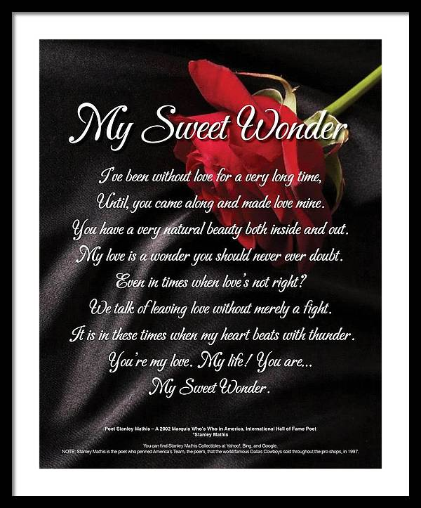 Girl Friend Framed Print featuring the digital art My Sweet Wonder Poetry Art by Stanley Mathis