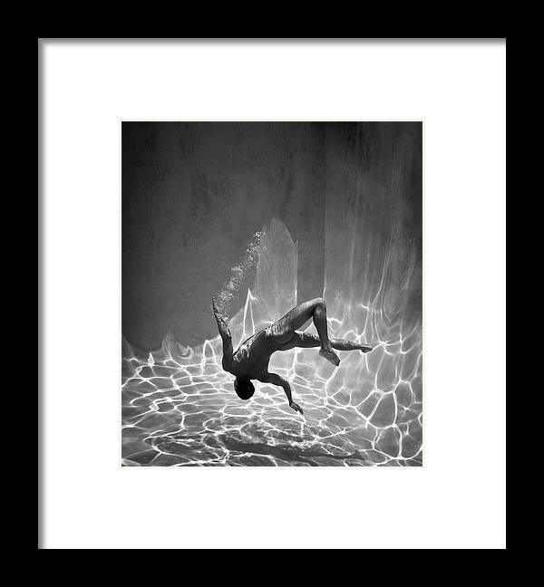 Underwater Framed Print featuring the photograph Naked Man Underwater by Ed Freeman