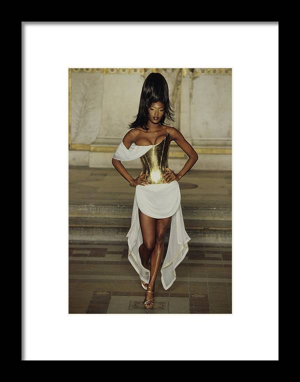 Alexander Mcqueen Framed Print featuring the photograph Naomi Campbell Walks Givenchy Haute Couture Spring 1997 by Guy Marineau