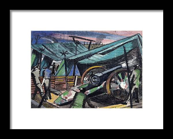 B1019 Framed Print featuring the painting A Howitzer Firing, 1918 by Paul Nash