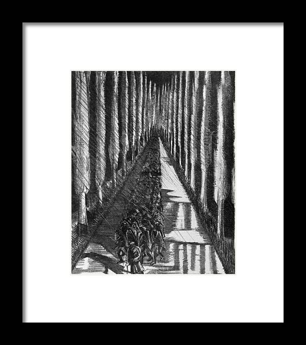 B1019 Framed Print featuring the drawing Men Marching At Night, 1918 by Paul Nash
