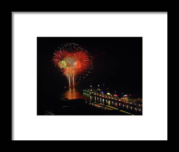 Firework Display Framed Print featuring the photograph Navy Pier Fireworks by Image By Douglas R. Siefken