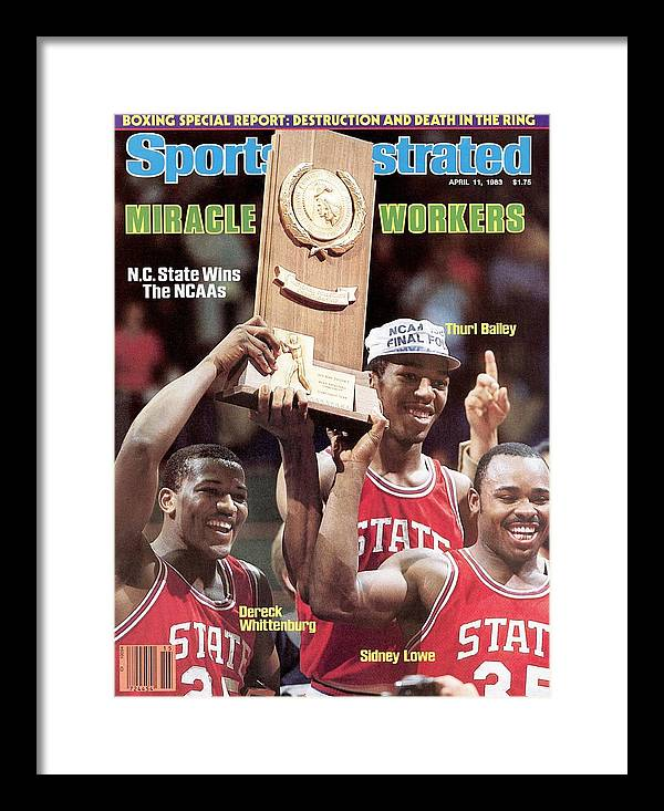 1980-1989 Framed Print featuring the photograph Nc State Dereck Whittenburg, Thurl Bailey, And Sidney Lowe Sports Illustrated Cover by Sports Illustrated