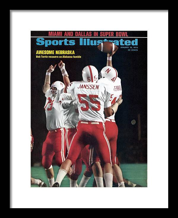 Magazine Cover Framed Print featuring the photograph Nebraska Bob Terrio, 1972 Orange Bowl Sports Illustrated Cover by Sports Illustrated