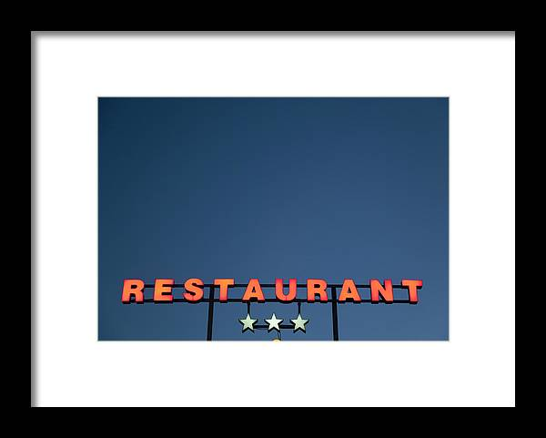 Temptation Framed Print featuring the photograph Neon 3 Star Restaurant Sign by Henglein And Steets