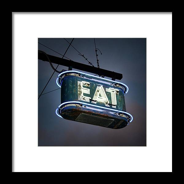 Hanging Framed Print featuring the photograph Neon Eat Sign by Kjohansen