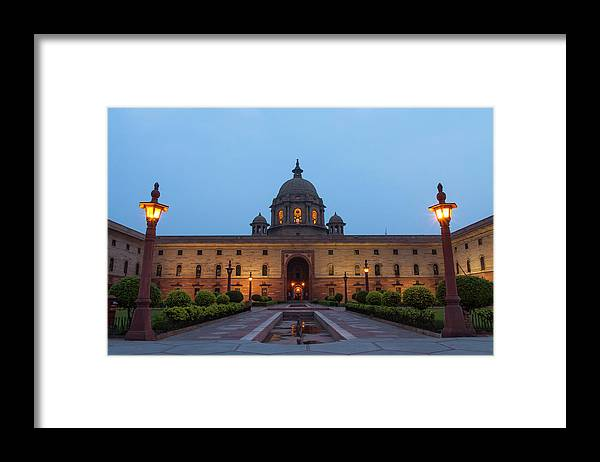 New Delhi Framed Print featuring the photograph New Delhi President House At Night by Prognone