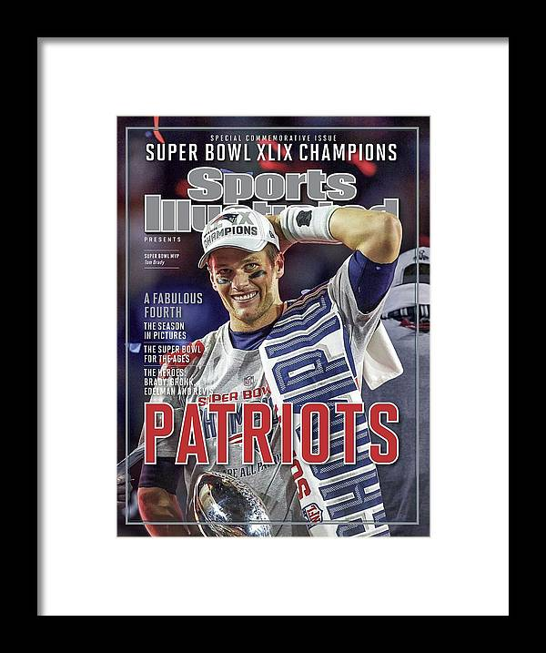 Vince Lombardi Trophy Framed Print featuring the photograph New England Patriots Qb Tom Brady, Super Bowl Xlix Champions Sports Illustrated Cover by Sports Illustrated