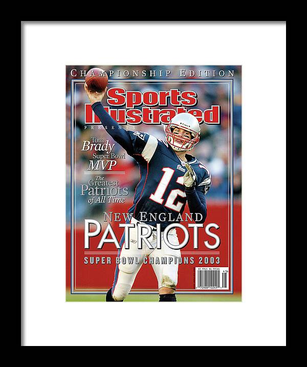 Motion Framed Print featuring the photograph New England Qb Tom Brady, Super Bowl Xxxviii Champions Sports Illustrated Cover by Sports Illustrated
