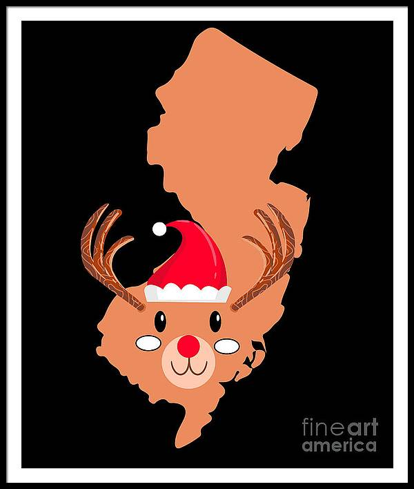 Adventure Framed Print featuring the digital art New Jersey Christmas Hat Antler Red Nose Reindeer by TeeQueen2603