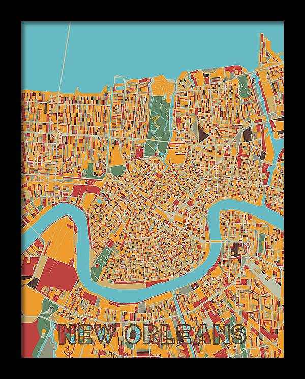 New Orleans Map Retro by Bekim M