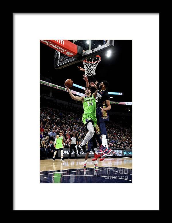 Nba Pro Basketball Framed Print featuring the photograph New Orleans Pelicans V Minnesota by Jordan Johnson