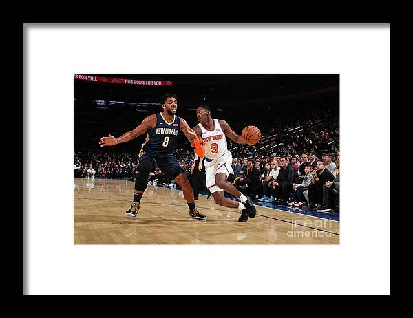 Nba Pro Basketball Framed Print featuring the photograph New Orleans Pelicans V New York Knicks by Nathaniel S. Butler