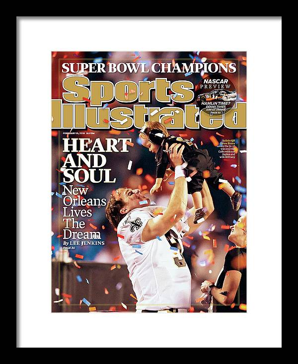 Magazine Cover Framed Print featuring the photograph New Orleans Saints Qb Drew Brees, Super Bowl Xliv Sports Illustrated Cover by Sports Illustrated