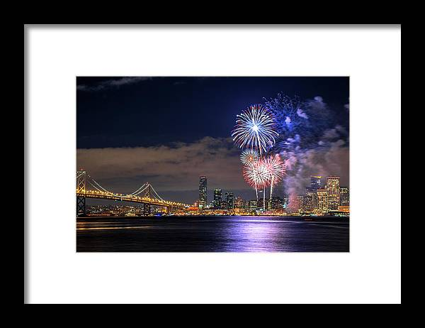 Firework Display Framed Print featuring the photograph New Year Fireworks by Piriya Photography