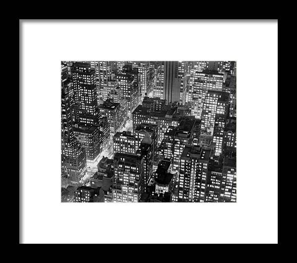 1950-1959 Framed Print featuring the photograph New York At Dusk From The Top Of The by New York Daily News Archive