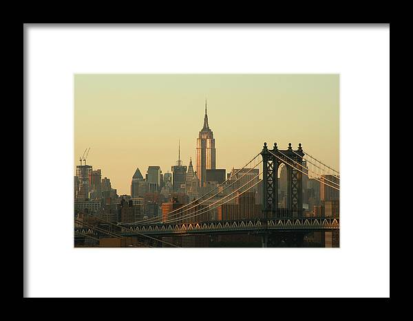 Suspension Bridge Framed Print featuring the photograph New York City Cityscape Sunrise by Cribbvisuals