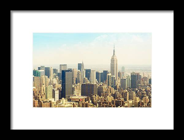 Panoramic Framed Print featuring the photograph New York City Skyline Town From An by Franckreporter