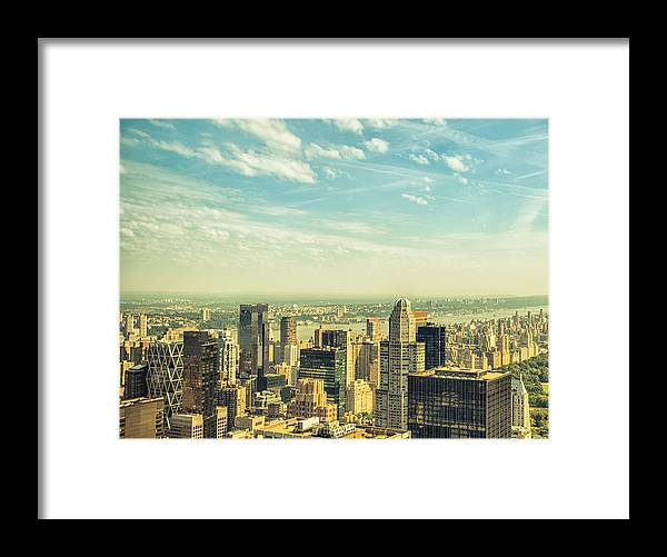 Lower Manhattan Framed Print featuring the photograph New York City Skyline With Central Park by Franckreporter