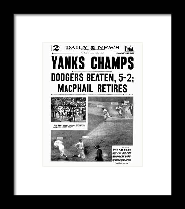 American League Baseball Framed Print featuring the photograph New York Daily News Front Page October by New York Daily News Archive