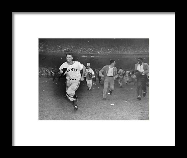 Sport Framed Print featuring the photograph New York Giants Captain Alvin Dark Runs by New York Daily News Archive