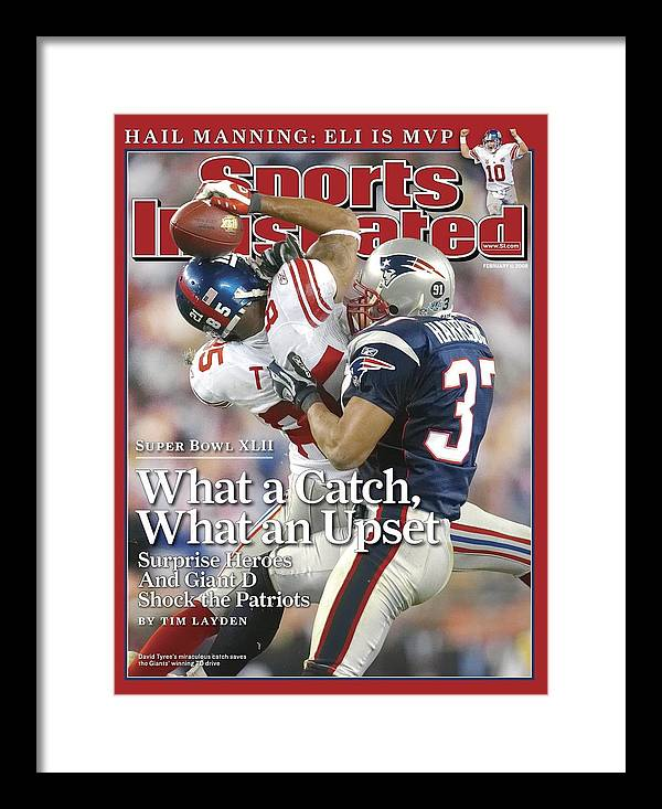 Magazine Cover Framed Print featuring the photograph New York Giants David Tyree, Super Bowl Xlii Sports Illustrated Cover by Sports Illustrated