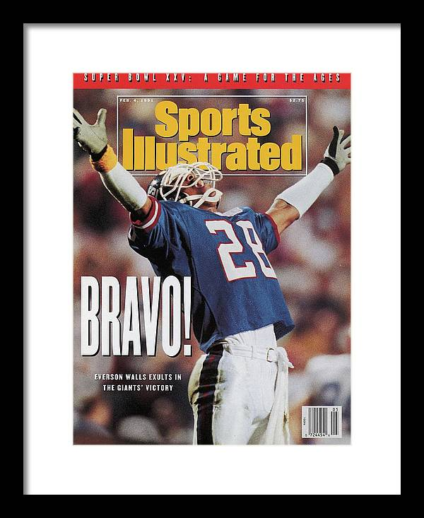 Magazine Cover Framed Print featuring the photograph New York Giants Everson Walls, Super Bowl Xxv Sports Illustrated Cover by Sports Illustrated