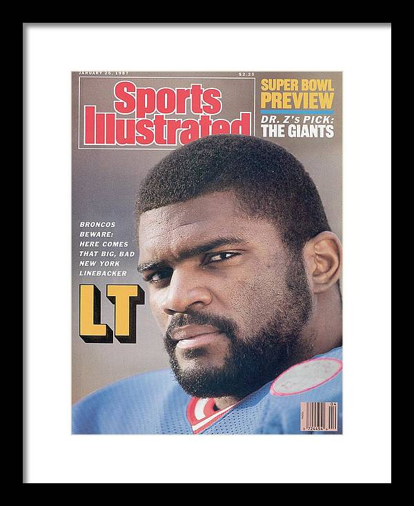 Magazine Cover Framed Print featuring the photograph New York Giants Lawrence Taylor Sports Illustrated Cover by Sports Illustrated