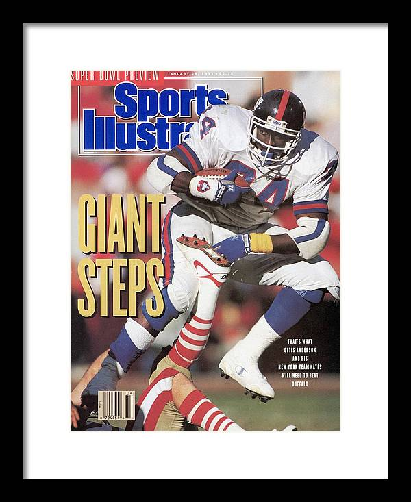Candlestick Park Framed Print featuring the photograph New York Giants Ottis Anderson, 1991 Nfc Championship Sports Illustrated Cover by Sports Illustrated