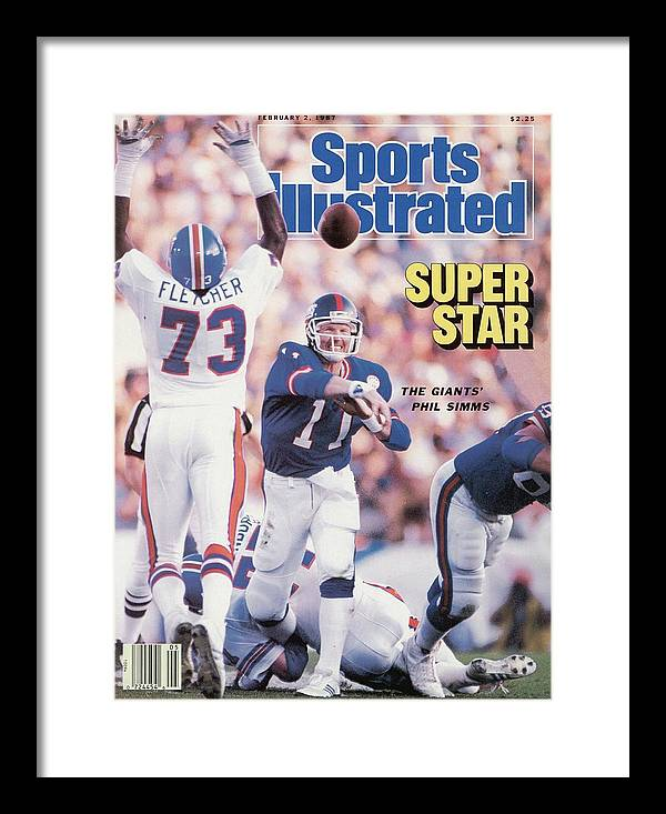 Magazine Cover Framed Print featuring the photograph New York Giants Qb Phil Simms, Super Bowl Xxi Sports Illustrated Cover by Sports Illustrated
