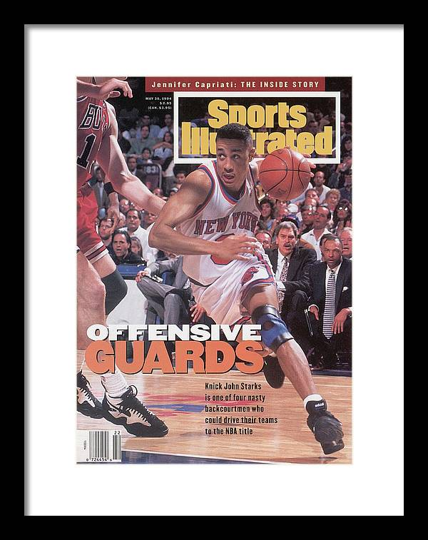 Chicago Bulls Framed Print featuring the photograph New York Knicks John Starks, 1994 Nba Eastern Conference Sports Illustrated Cover by Sports Illustrated