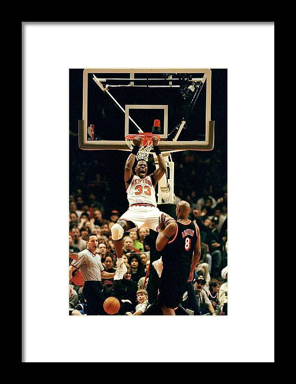 Nba Pro Basketball Framed Print featuring the photograph New York Knicks Patrick Ewing Does A by New York Daily News Archive