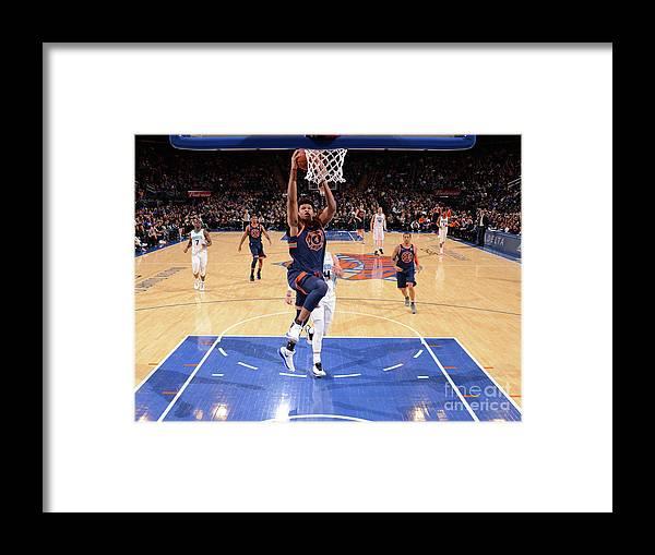 Description Framed Print featuring the photograph New York Knicks V Charlotte Hornets by Jesse D. Garrabrant
