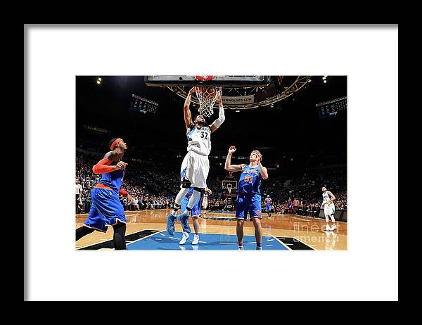 Nba Pro Basketball Framed Print featuring the photograph New York Knicks V Minnesota Timberwolves by David Sherman