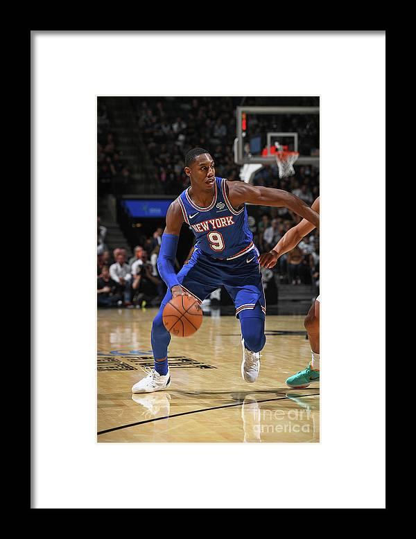 Nba Pro Basketball Framed Print featuring the photograph New York Knicks V San Antonio Spurs by Garrett Ellwood