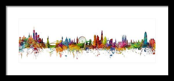 Barcelona Framed Print featuring the digital art New York, London And Barcelona Skylines Mashup by Michael Tompsett