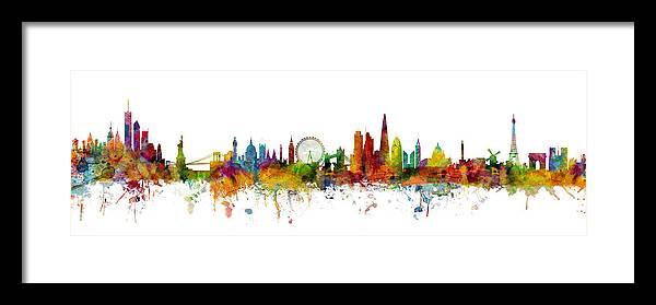 Paris Framed Print featuring the digital art New York, London, Paris Skyline Mashup by Michael Tompsett